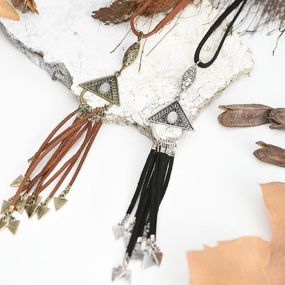 Triangle with Leather Tassel Necklace