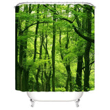 Tropical Rain Forest 3D Shower Curtain - Green / H150Cmxw180Cm