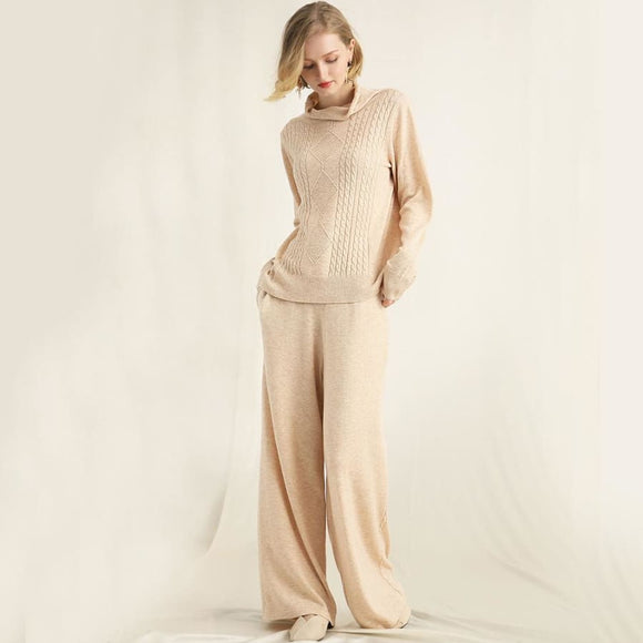 Two Piece Wool Blends Pant Suit