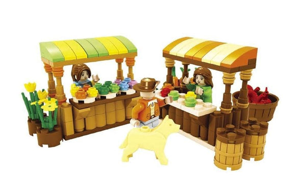 Vegetable Market Stand Building Blocks Set
