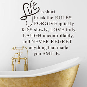 Vinyl Wall Decal - Life Is Short