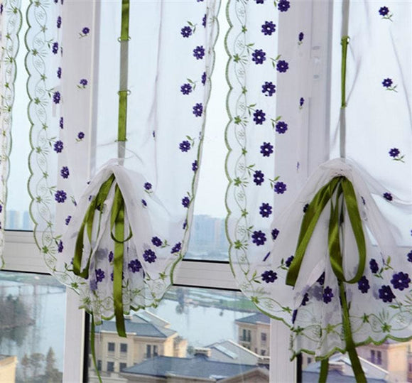 Voile Flower Tulle Window Curtain