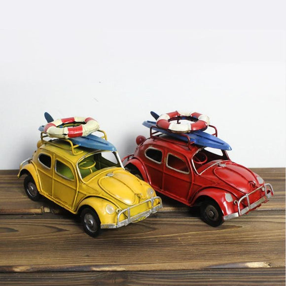 Volkswagen Convertible Beetle With Surf Board Metal Craft