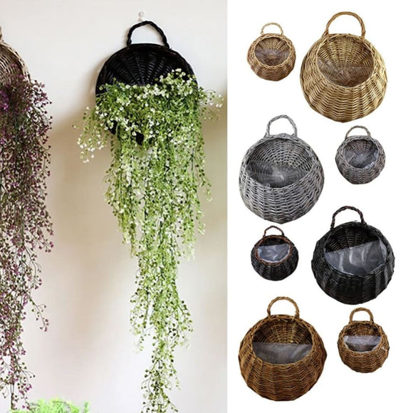 Wall Hanging Wicker Flower Basket - A / S