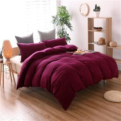 Wash Style Solid Color Cotton - 3 Piece Duvet Set - Wine Red / Us King 3Pcs