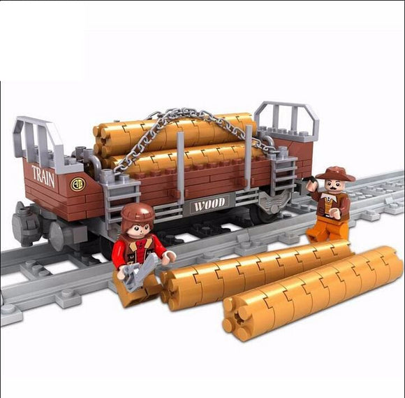 Western Railway Log Car Building Blocks Toy