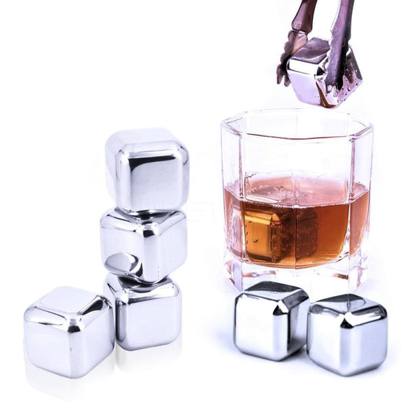 Whiskey Stainless Steel Stones Ice Cubes - 10 Piece Set