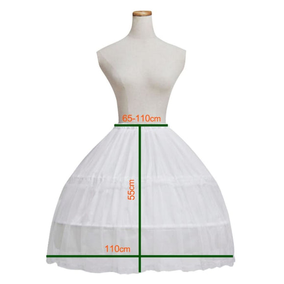 White Bone Crinoline Petticoat 2 Steel Hoops