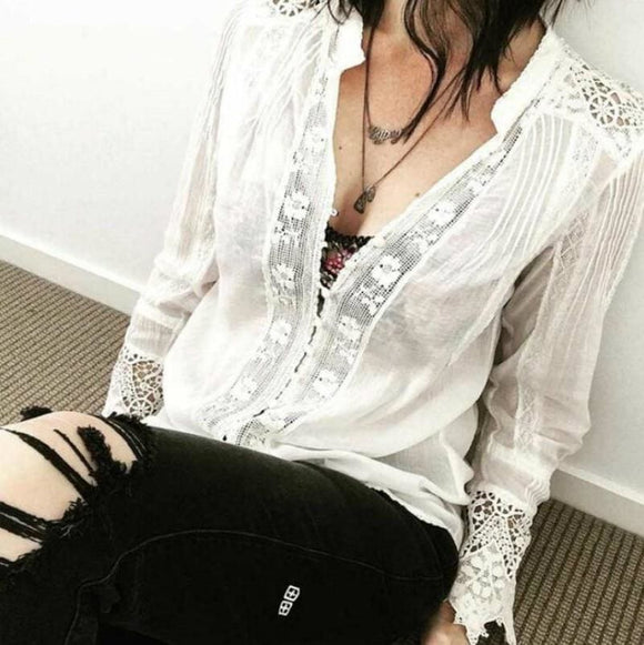 White Cotton Floral Lace Long Sleeve Shirt - White / S