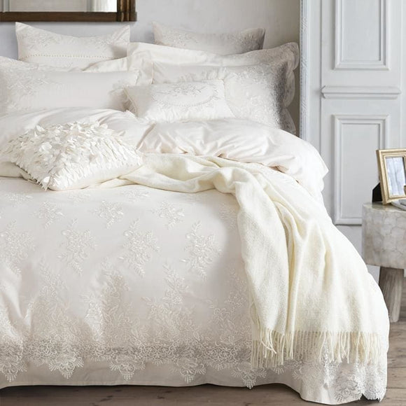 White Embroider Bedding Duvet Set