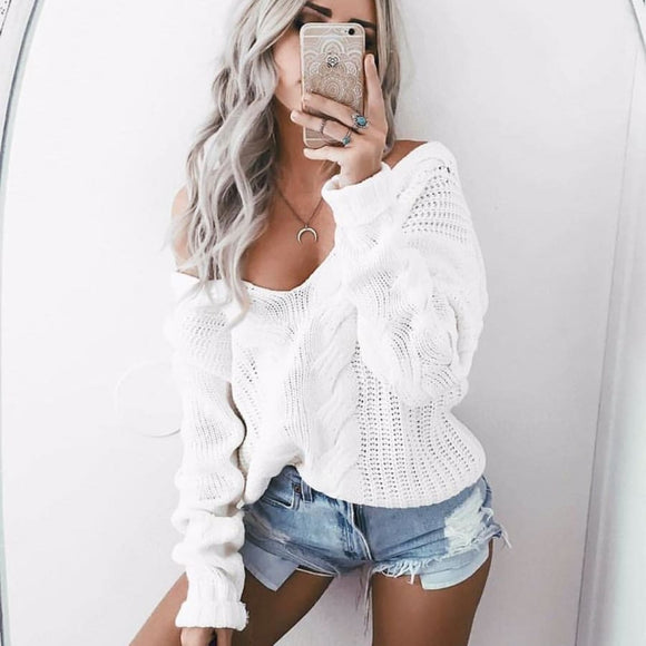 White Knit Pullover - L