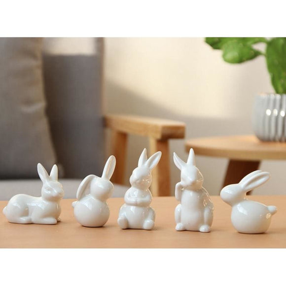 White Rabbit Figurine - Light Gray