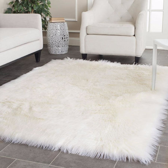 White Rectangle Area Rug