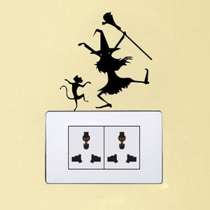 Witch and Cat Switch Sticker