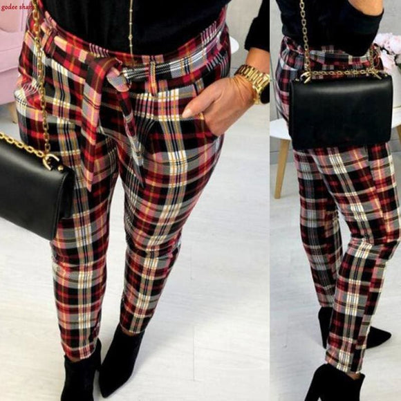 Women Slim Fit Plaid Print Trouser