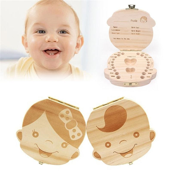 Wood Baby Teeth Storage Box