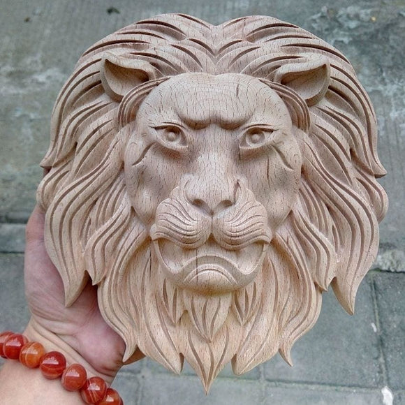 Wood Lion Carve Face - 22X20X5Cm