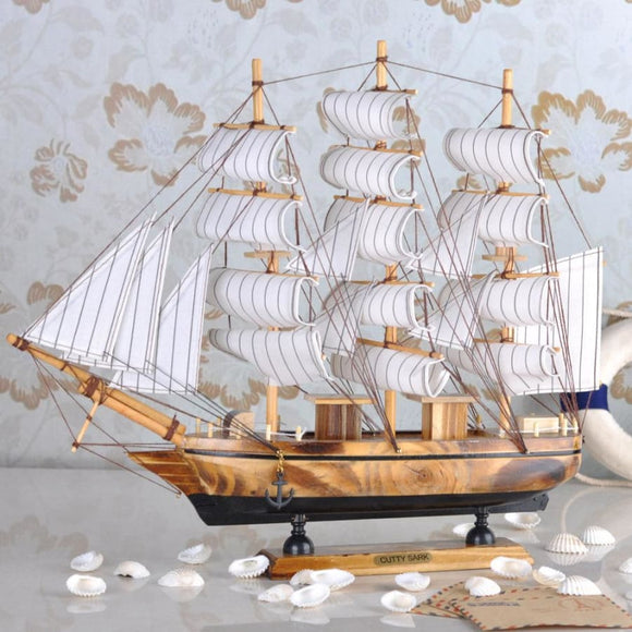 Wood Sailing Boat Statue