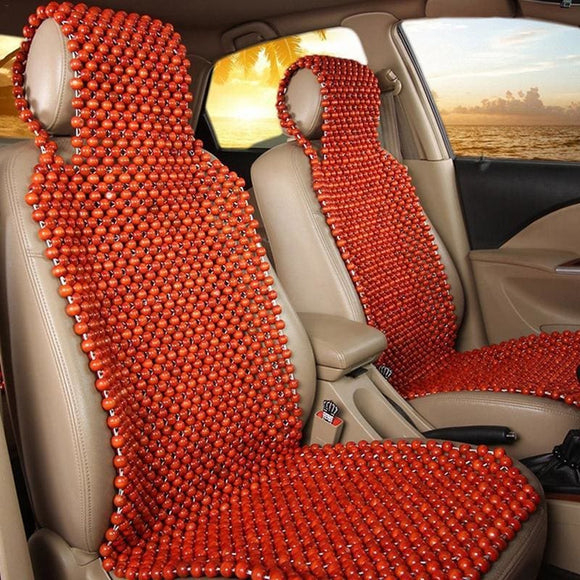 Wooden Bead Universal Car Massage Seat Cover - Red
