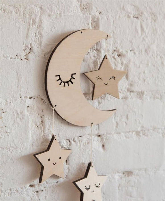 Wooden Nordic Moon Eyelash Wall Hanging