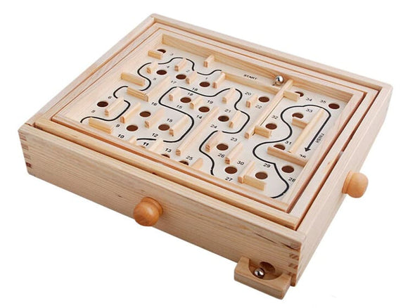 Wooden Rotary Knob Labyrinth Board Game