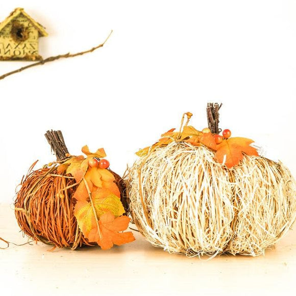 Wooden Twig Pumpkin Decoration x 2