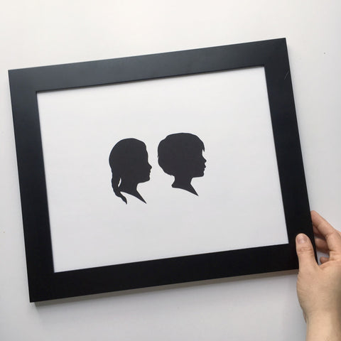 "11x14"" with Two Silhouette Paper-Cuts"