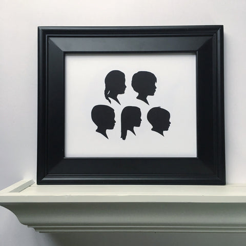 "8x10"" with Five Silhouette Paper-Cuts"