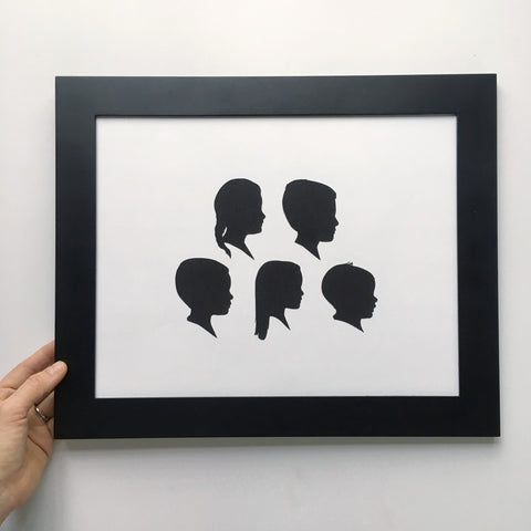 "11x14"" with Five Silhouette Paper-Cuts"
