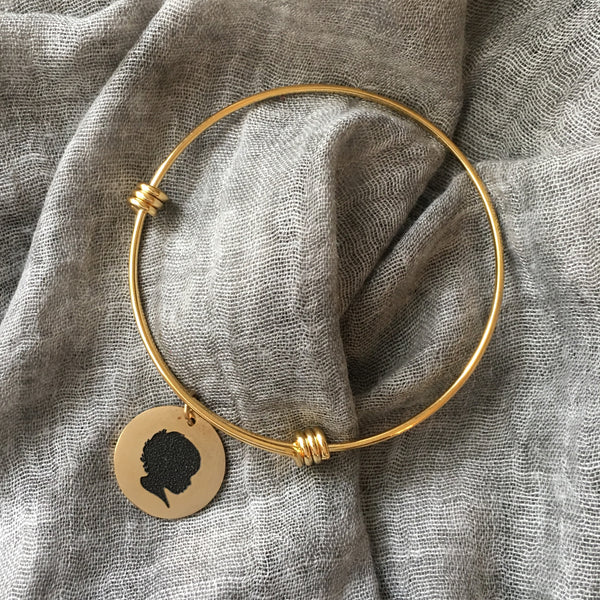 Gold Silhouette Expandable Bangle Bracelet
