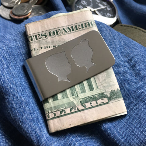 Silhouette Money Clip (two portraits)