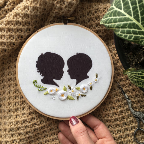 Silhouette Embroidered Hoop (with two portraits)
