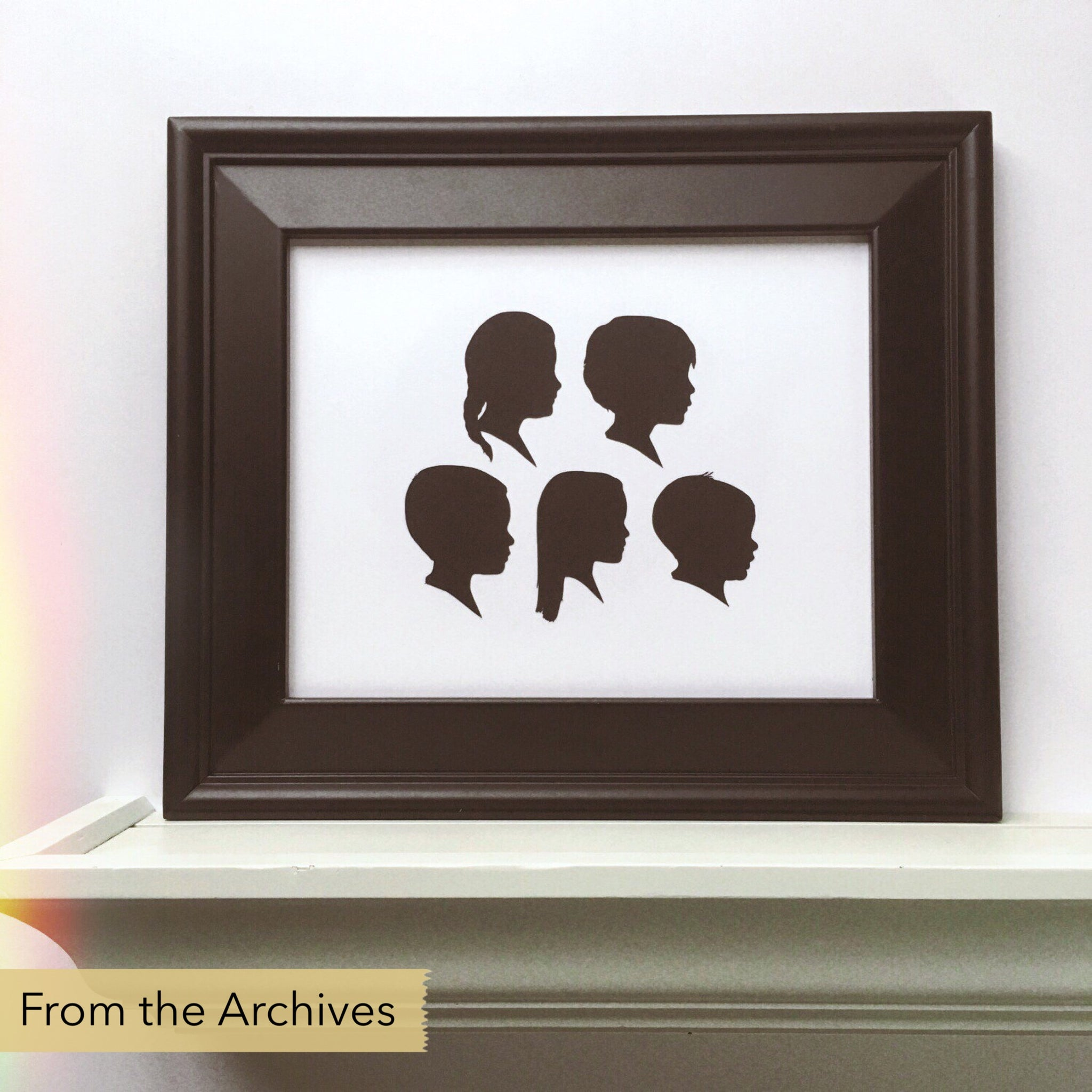 "FROM THE ARCHIVES 8x10"" with Five Silhouette Paper-Cuts"