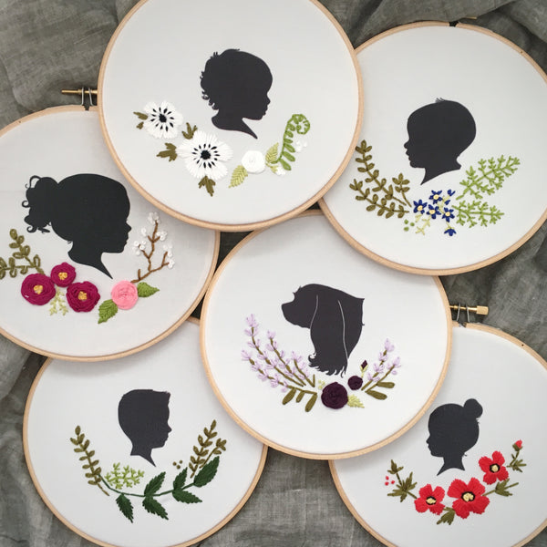 Custom Silhouette Embroidered Hoop (with two portraits)