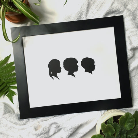 "11x14"" With Three Classic Silhouette Portraits"