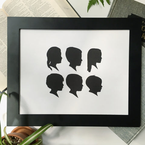 "11x14"" with Six Silhouette Paper-Cuts"