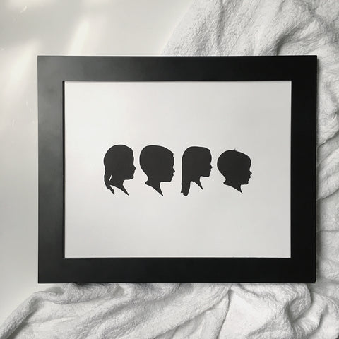 "11x14"" with Four Silhouette Paper-Cuts"