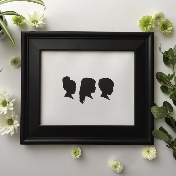 "8x10"" with Three Silhouette Paper-Cuts"