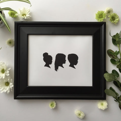 "8x10"" With Three Classic Silhouette Portraits"