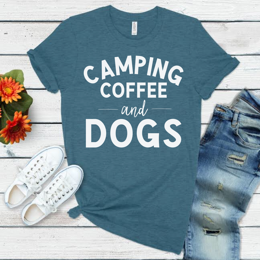 Camping, Coffee and Dogs in Blue