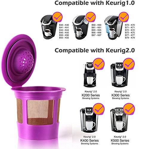 GoodCups 6 Reusable Refillable K Cups Coffee Filters Accessories for Keurig 2.0 and Classic 1.0 Brewers