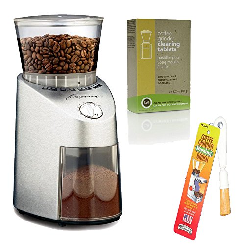 Capresso 565 Infinity Conical Burr Grinder with Brush and Cleaning Tablets
