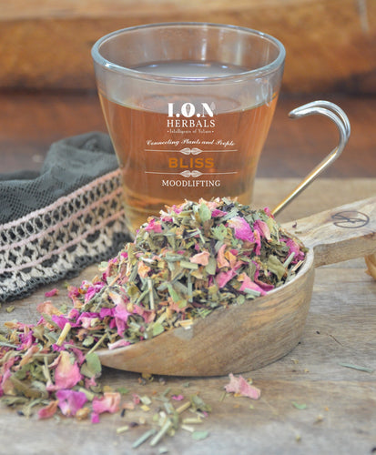 BLISS in a cup.  This is a beautiful infusion of herbs to open the heart and lift the mood; simply the aroma can carry one to bliss.
