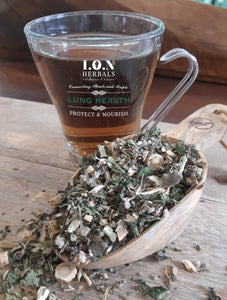 A herbal tea that may protect, nourish and restore a healthy respiratory system. A herbal tea that can also be used to improve respiratory health after long term cannabis use.