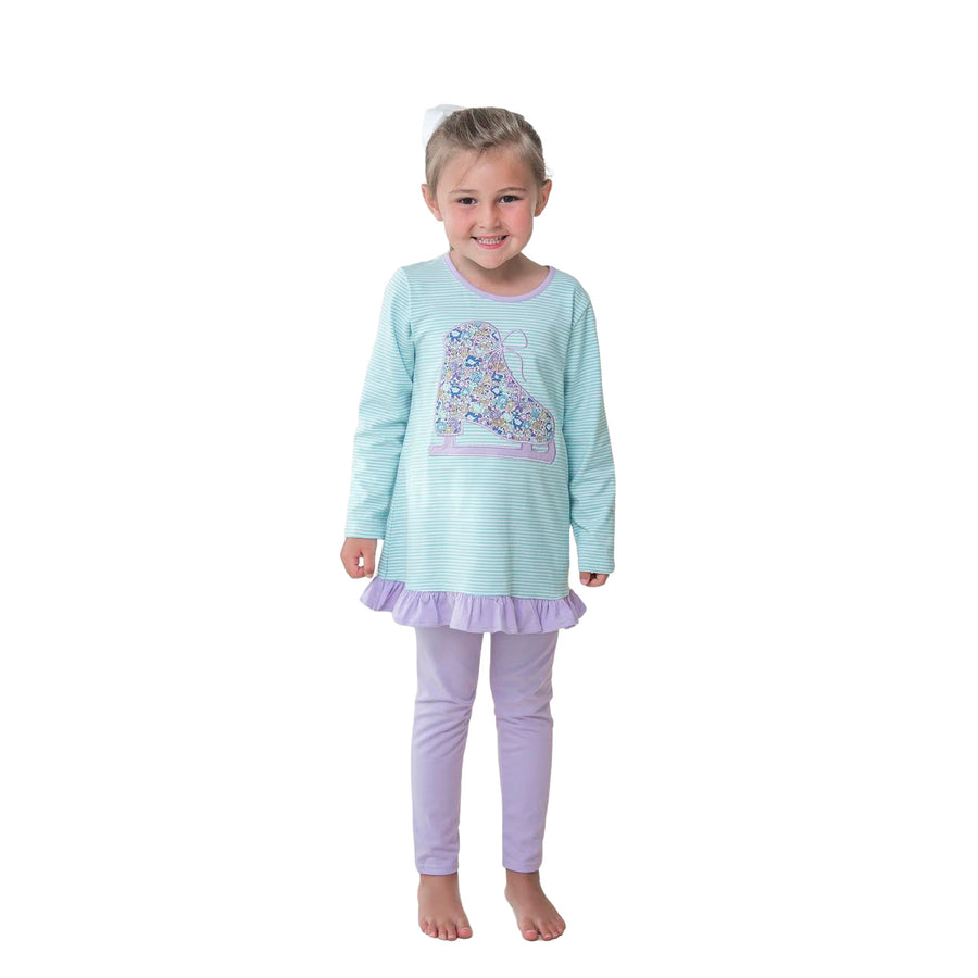 Ice Skating Applique Pants Set