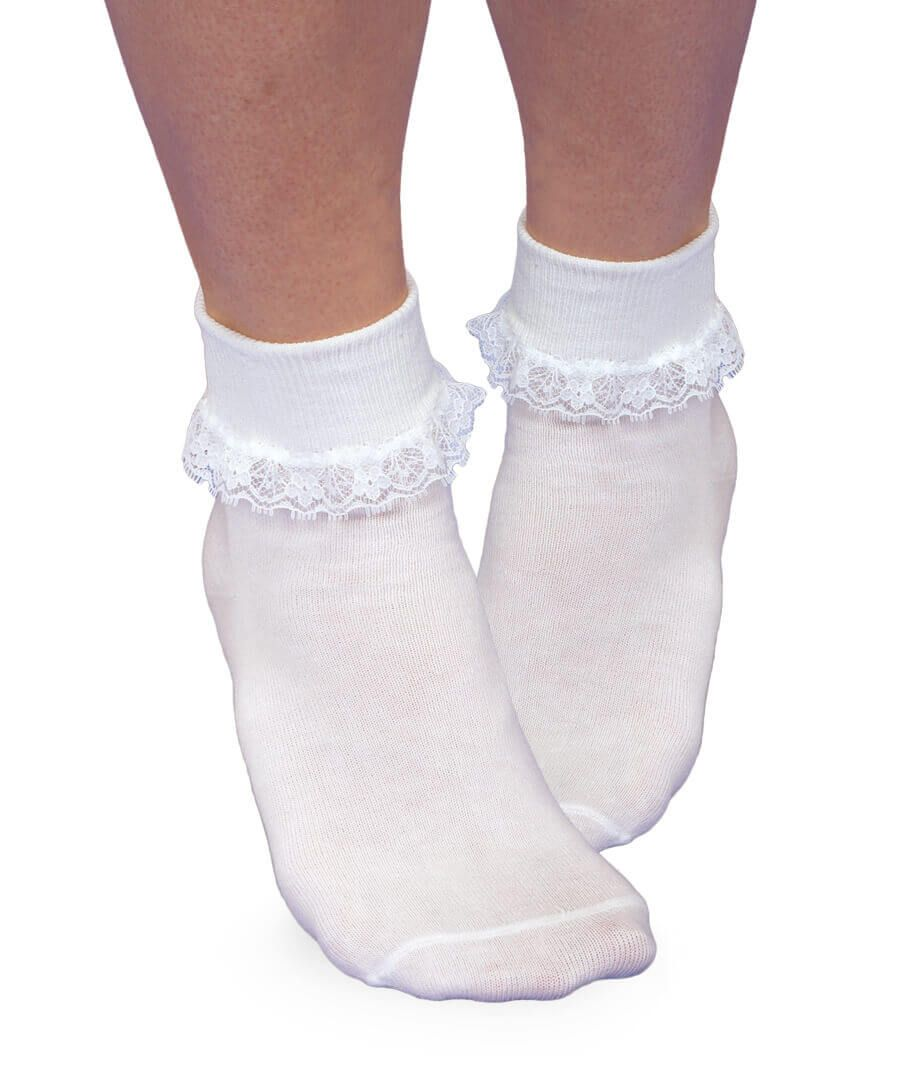 Smooth Toe Simplicity Lace Turn Cuff Socks 1 Pair - White