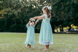 Sleeveless Mint Heirloom Dress