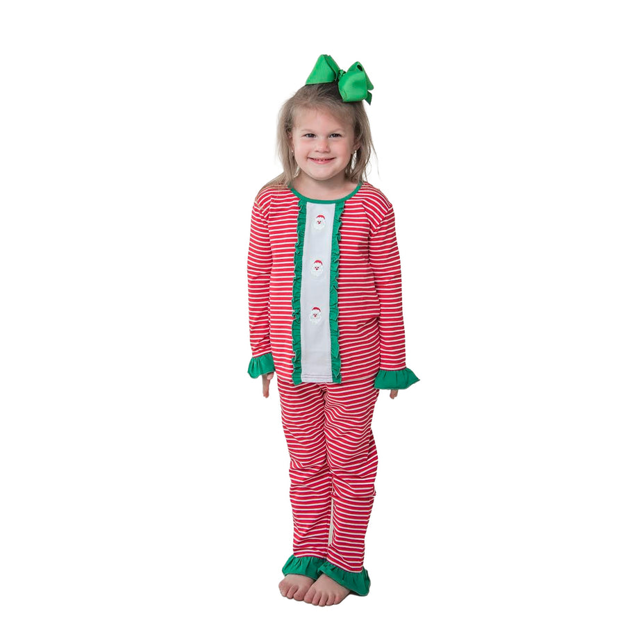 Mini Santa Embroidery Ruffle Loungewear