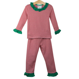Red Stripe Ruffle Loungewear