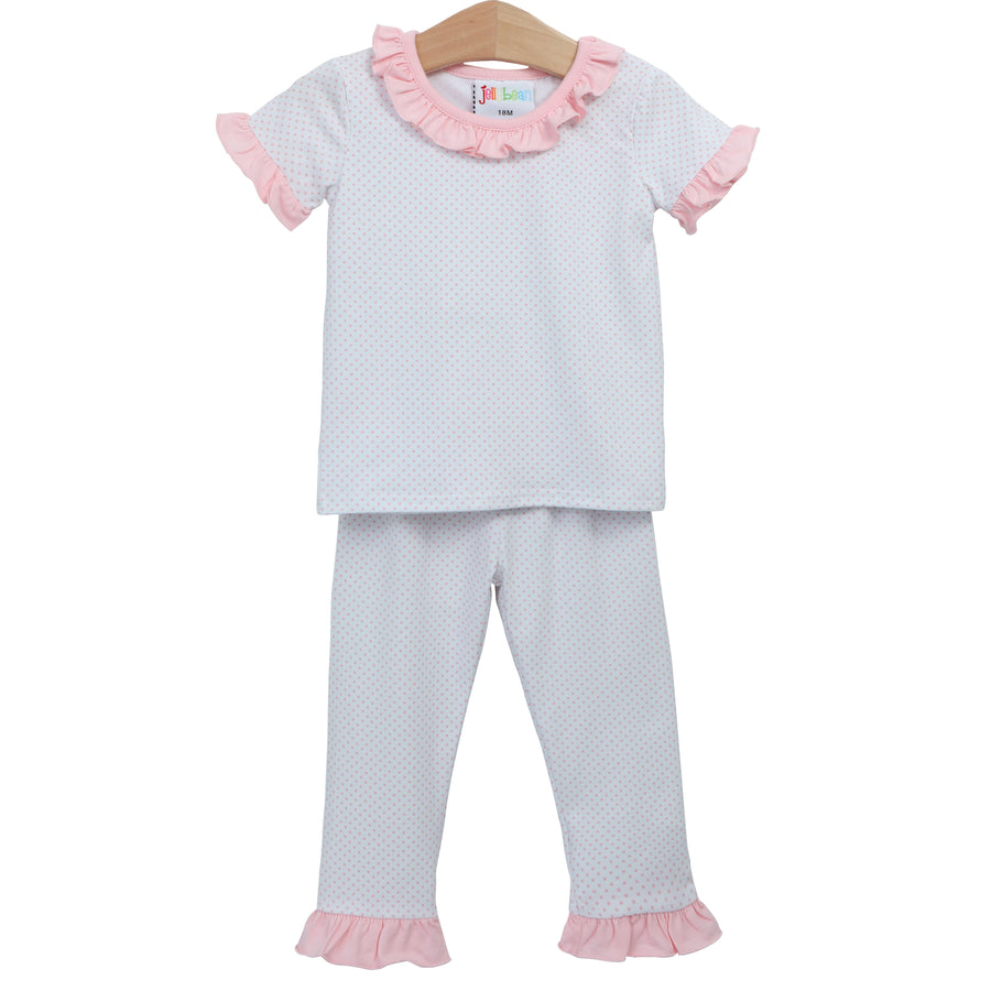 Light Pink Dot Ruffle Loungewear